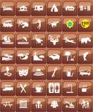 Sistema turístico del icono de las ubicaciones Fotografía de archivo