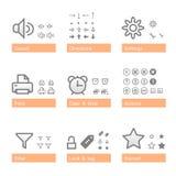 Conjunto universal del icono del software. Pieza de la adición Imagen de archivo