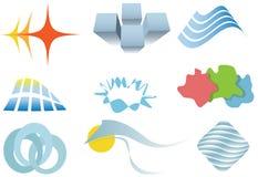 Conjunto variado de elementos o de iconos coloridos del diseño stock de ilustración