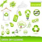 Conjunto verde de la limpieza en seco Imágenes de archivo libres de regalías