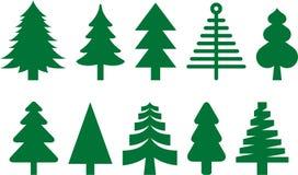 Conjunto verde del árbol ilustración del vector
