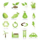 Conjunto verde del icono Imagenes de archivo