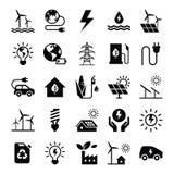 Conjunto verde del icono de la energ?a ilustración del vector