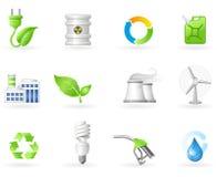 Conjunto verde del icono de la energía Fotos de archivo libres de regalías