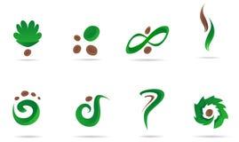 Conjunto verde del icono de la insignia imagen de archivo libre de regalías