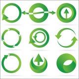 Conjunto verde del icono del elemento del diseño del círculo de la flecha Imágenes de archivo libres de regalías