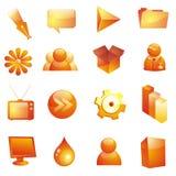 Conjunto vidrioso del icono Fotografía de archivo libre de regalías