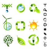Conjunto vivo verde del icono Imágenes de archivo libres de regalías