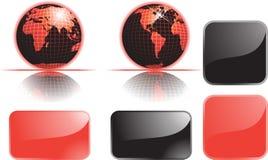 Conjunto y botones del globo Fotografía de archivo libre de regalías