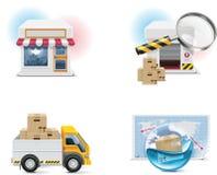 Conjunto y elementos del icono de las compras del vector. Parte 1 ilustración del vector
