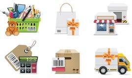 Conjunto y elementos del icono de las compras del vector. Parte 2 Fotos de archivo