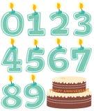Conjunto y torta numerados de la vela ilustración del vector