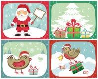 Conjuntos 2 de las tarjetas de Navidad Fotografía de archivo