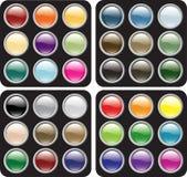 Conjuntos brillantes en blanco del botón Foto de archivo