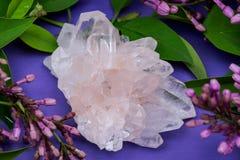 Conjuntos claros Himalaias de quartzo com as inclus?es do hematita cercadas por flores lil?s fotografia de stock royalty free