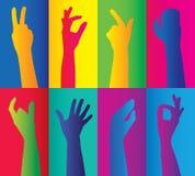 Conjuntos coloridos de mãos Foto de Stock