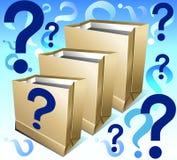 Paquetes con la pregunta fotografía de archivo libre de regalías