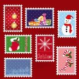 Conjuntos de franqueo del sello de la Navidad del invierno Imagen de archivo