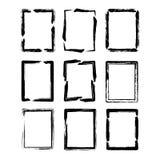 Conjuntos de la frontera del cuadrado del cepillo de la tinta del grunge del vector Imagen de archivo