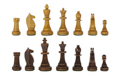 Conjuntos de madeira da xadrez do vintage isolados Imagens de Stock Royalty Free