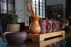 Conjuntos de té y ceremonia de té Foto de archivo