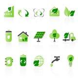Conjuntos verdes del icono Stock de ilustración