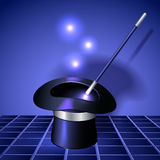 Conjurer hat with magic wand Stock Photography