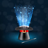 Conjurer hat with magical glow. EPS10 vector Royalty Free Stock Photo