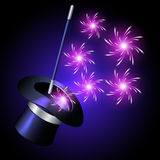 Conjurer hat with sparkle fireworks Royalty Free Stock Photos