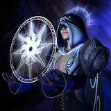 Conjuring wizard. 3D rendered image of conjuring wizard conjure spell Stock Photos