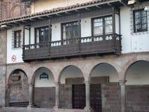 Conlonial-Balkone in Cusco, Peru Lizenzfreie Stockfotos