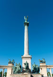 Conmemorative column in Heroes Square in Budapest Stock Image