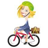 Conmutación de la bici del montar a caballo de la mujer de negocios de la historieta Imágenes de archivo libres de regalías
