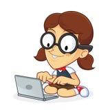 Connaisseur de fille avec l'ordinateur portable illustration de vecteur