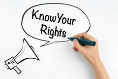 Connaissez vos droites Mégaphone et texte sur un fond blanc image libre de droits
