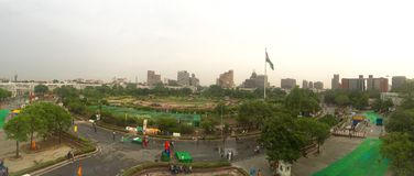Connaught θέση, Νέο Δελχί - πανοραμική άποψη στοκ φωτογραφία