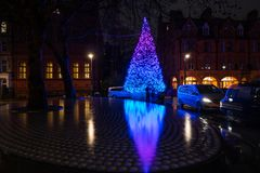 The Connaught hotel`s Christmas tree on Mount Street in Mayfair, London. LONDON - DECEMBER 23, 2018: The Connaught hotel`s iconic Christmas tree on Mount Street stock image