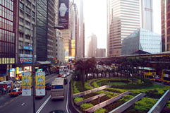 Connaught Road Central Of Hong Kong at sundown Stock Photos
