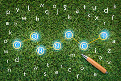 CONNCET concept with alphabet on green grass.jpg Stock Image