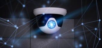 Conncetion над системой камеры cctv безопасностью - перевод 3d Стоковые Фотографии RF