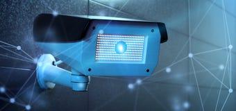 Conncetion над системой камеры cctv безопасностью - перевод 3d Стоковое Изображение RF