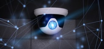 Conncetion over a security cctv camera system - 3d rendering Royalty Free Stock Photos