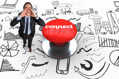 Connect against digitally generated red push button Royalty Free Stock Photo