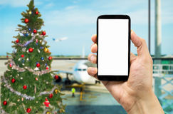 Connect on the airport on Christmas Stock Image