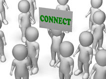 Connect Board Character Means Networking And Stock Image