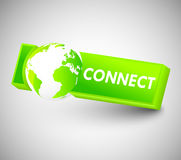 Connect Button. 3d Green Connect button with globe Royalty Free Stock Photo