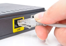 Connect the cable to the network switch Stock Images