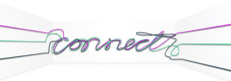 Connect Cables Front. A pink, a green and a grey cable draped together to form the word connect on an isolated background Stock Images