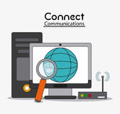 Connect communications social network icon. Computer global lupe wifi connect communications social network icon. colorful illustration Royalty Free Stock Image