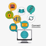 Connect communications social network icon. Computer global connect communications social network icon set. colorful illustration Royalty Free Stock Images